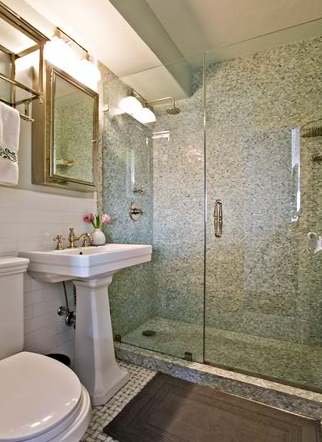 Mosaic Tile Shower Transitional Bathroom Anne