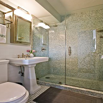 Anne Chessin Designs - bathrooms - mosaic tile shower, mosaic tile shower surround, glass walk in shower, walk in shower ideas, pedestal sink, framed medicine cabinet, subway tile backsplash, train rack, train rack over toilet, towel rack over toilet,