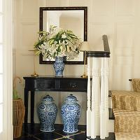 Ashley Whittaker Design - entrances/foyers - blue, white, ginger, jars, glossy, black, lacquer, console, table, black, gold, diamond, patterned, floors, wicker, umbrella, holder, black, gold, mirror, gold, buffet, lamps, beige, sand, gold, geometric, stair, runner, entrance, foyer, entry,