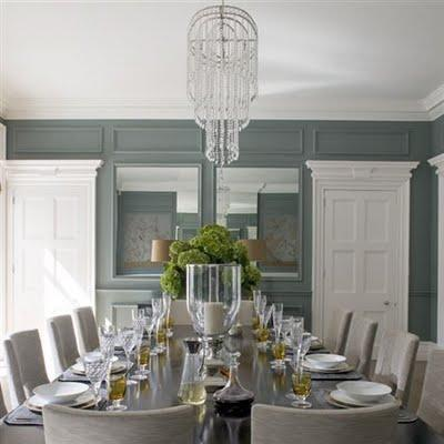 Helen Green Design - dining rooms - blue and gray dining room, blue walls, trim moldings, wall with trim moldings, full wall wainscoting, gray dining chairs, slipcovered dining chairs, gray slipcovered dining chairs, paneled dining room, blue paneled dining room,