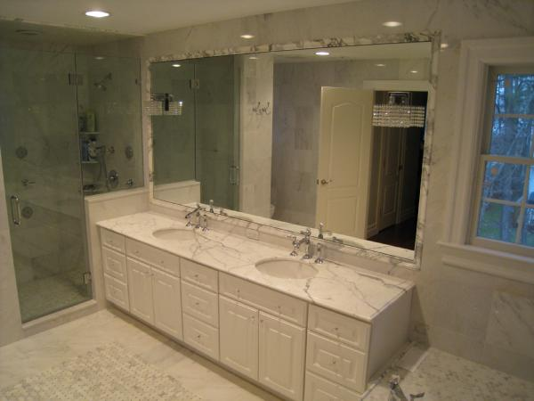 Carrera marble transitional bathroom for Marble master bathroom