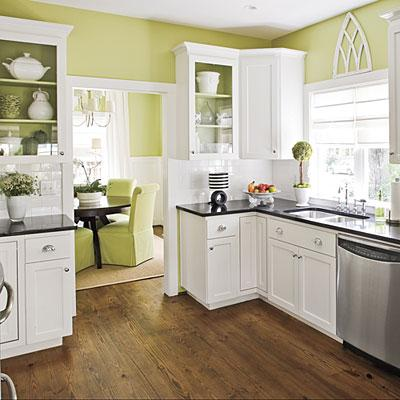 Southern Living - kitchens - Valspar - Bella Mint - green walls, white cabinets, black granite, stainless steel, wood floors, roman shades, green walls, green paint, green paint colors, white and green kitchen, valspar greens, valspar green paint colors,