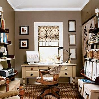 dens/libraries/offices - Brown, Neutral, Home Office, aupe paint, taupe paint colors, taupe paint color, taupe walls,  Business Casual Home Office