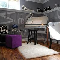 HGTV - dens/libraries/offices - purple ottoman, cube ottoman, purple cube ottoman, graphic walls, gray walls, architect desk,  Home office.