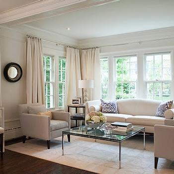 McGill Design Group - living rooms - beige, serene, black, convex, mirror, ivory, silk, drapes, glass, coffee, table, gray, sofa, chairs, coffered, ceiling,