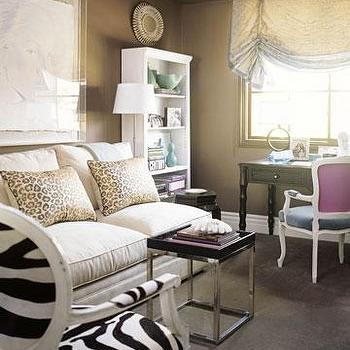 Joe Nye - living rooms - taupe paint, taupe paint colors, taupe paint color, taupe walls, taupe color paint, armless sofa, zebra chair,  Eclectic