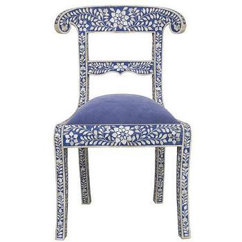 Seating - Royal Blue Bone Inlay Chair - Graham and Green - bone inlay, chair