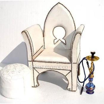 Seating - justmorocco. Alhambra blanche chair - chair, leather, moroccan, white