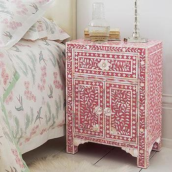Storage Furniture - Pink & Mother of Pearl Bedside Table - Graham and Green - nightstand, pink, bone inlay
