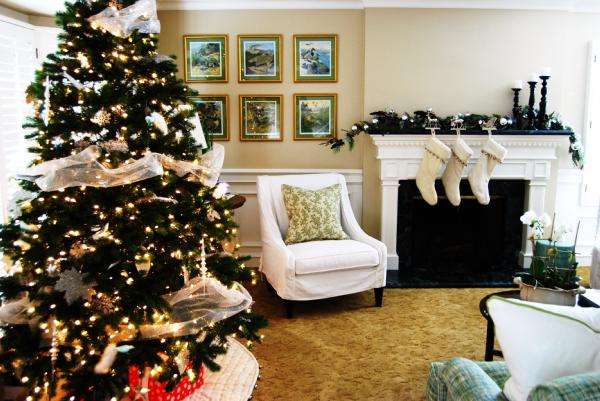 living rooms - christmas tree fireplace slipcovered living room  our living room all decorated for the holidays.   we still need something over