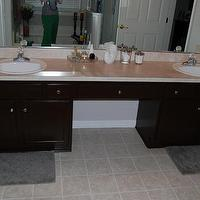 bathrooms - Behr, Espresso, Beans,  The cabinets that came with the house were oak.  Great cabinets, but not our style.    We tried to stain