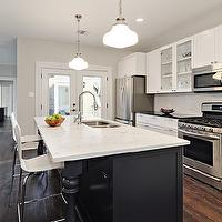Avenue B - kitchens - Benjamin Moore - Moonshine - kitchen, white, black, granite, marble, cararra, pine floors, pendant, bar, glass, cabinets, cabinetry, island, gray walls, gray paint, gray paint colors, gray walls, grey walls, gray paint, grey paint, gray paint color, grey paint color, gray wall paint, grey wall paint, gray kitchen walls, grey kitchen walls, gray kitchen paint, grey kitchen paint, gray kitchen paint color, grey kitchen paint color,