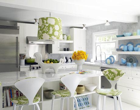 Jonathan Adler - kitchens - giant horse bowl, horse bowl, jonathan adler hose bowl, cherner bar stools, white cherner bar stools, white kitchen cabinets, green and blue accents, green kitchen accents, blue kitchen accents, kitchen island storage, kitchen island shelves, gray kitchen backsplash, white marble countertops,