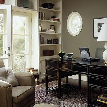 BHG - dens/libraries/offices - rich wood tones, ivory built-ins, club chairs, lacquered desk, black lacquered desk,  Slick, sophisticated, urban