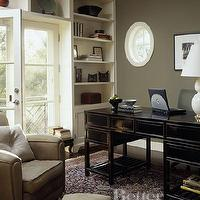 BHG - dens/libraries/offices - rich wood tones, ivory built-ins, club chairs, black, desk, green, gray, walls,  Slick, sophisticated, urban office.