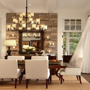 Pineapple House - dining rooms - upholstered chairs, sisal rug, stone accent wall, dining room accent wall, white dining chairs, parsons dining chairs, white parsons dining chairs,