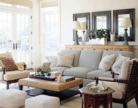living rooms - Mitered Pillow, gray sofa, gray velvet sofa, dove gray ...