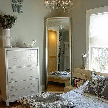 bedrooms - silver floor mirror, bedroom floor mirror, floor mirror, corner floor mirror, caddy corner floor mirror, white and grey bedding,
