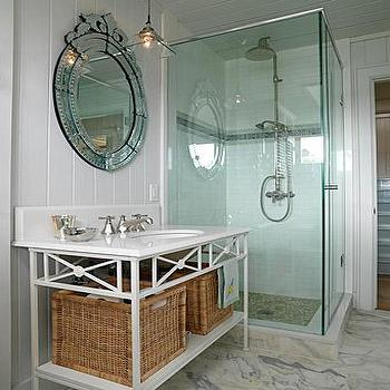 Sarah Richardson Design - bathrooms - bathroom venetian mirror, venetian mirror in bathroom, oval venetian mirror, cottage washstand, walk in shower, rain shower head, quartz countertops, caesarstone countertop, white quartz countertop, paneled bathroom, vertically paneled bathroom, vertical wall panels, Caesarstone Quartz,