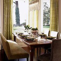 Sarah Richardson Design - dining rooms - gray walls, linear strand crystal chandelier, dining room bay window, bay window, dining bench, velvet dining bench, brown dining bench, green patterned curtains, green patterned drapes, salvaged wood dining table, Linear Strand Crystal Chandelier,