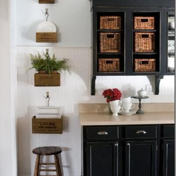 The Lettered Cottage - kitchens - cottage kitchen, cottage kitchen ideas, beadboard, beadboard backsplash, kitchen beadboard, black cabinets, black kitchen cabinets, open kitchen cabinets,