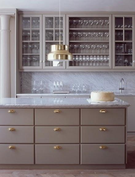 Studio Isle - kitchens - gray kitchen cabinets, gray cabinets, gray kitchen, gray kitchen island, gray islands, gray cabinets with brass hardware, gray kitchen cabinets with brass hardware,