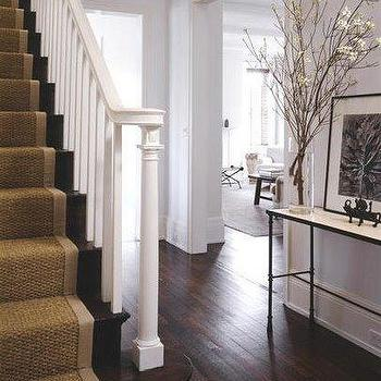 entrances/foyers - sisal runner, sisal stair runner, bound sisal stair runner,  Foyer  Love the neutrals! Seagrass stair runner. Simple and elegant.
