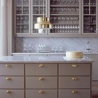 Studio Isle - kitchens - kitchen, neutral, gold, gray kitchen cabinets, gray cabinets, gray kitchen, gray kitchen island, gray islands,  LOVE