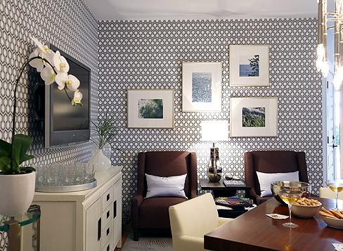 Blue Hex Wallpaper Contemporary Basement Sarah