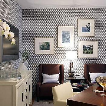 Blue Hex Wallpaper, Contemporary, basement, Sarah Richardson Design