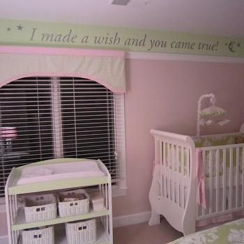 nurseries - pink and green nursery, pink and green girls nursery, pink and green walls, two tone walls, kids two tone walls, damask duvet, green damask duvet, white and green duvet, white and green damask duvet, damask bedding, green damask bedding, shared kids room, shared kids bedroom, damask crib bedding, damask crib bumper,