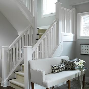 Sarah Richardson Design - entrances/foyers - foyer, foyer settee, foyer bench, white and gray foyer, silver cloud, silver gray paint, silver gray paint colors,