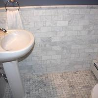 bathrooms - marble subway tile backsplash, marble subway tile, marble subway tile bathroom, marble subway tile backsplash, marble subway tile bathroom, marble subway tile, marble basketweave tile, marble basketweave floor, pedestal sink, White Carrara Marble Tiles, Basketweave Marble Tiles,