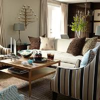 Sarah Richardson Design - living rooms - sarah richardson living room, striped chairs, ivory sofa, square coffee table,  Glossy Ikea storage