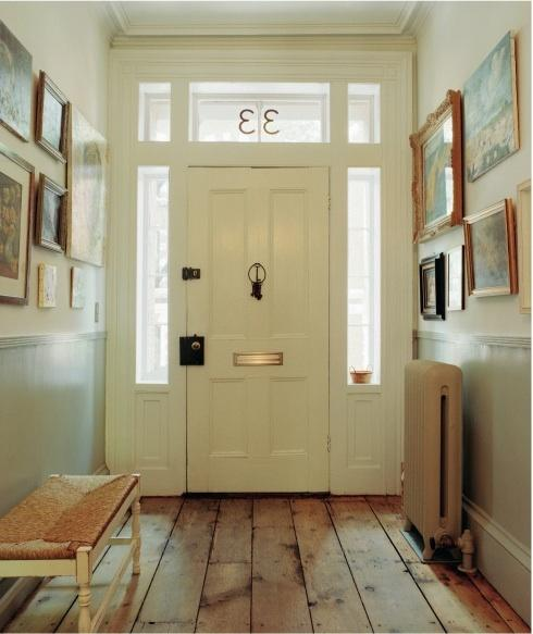 Foyer Hardwood Floors : Rustic plank floor transitional entrance foyer