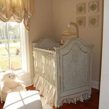 HGTV - nurseries - french crib, french nursery crib,  Traditional neutral nursery.  soft, bright, charming