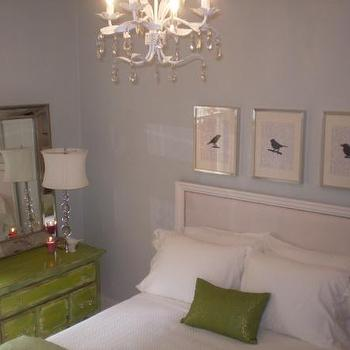 HGTV - bedrooms - green chest, distressed chest, green distressed chest, blue and green bedroom, blue walls, green pillow, beaded mirror, beveled mirror, beaded beveled mirror, beveled beaded mirror,