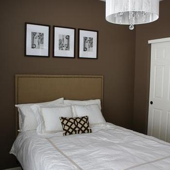 bedrooms - Imperial Trellis pillow, white bedding, brown walls, brown paint, brown paint color, bedroom with brown walls, brown bedroom walls, Chrome and White 6-light Crystal Chandelier,