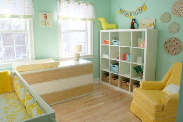 nurseries - Ikea Expedit Bookcase, ikea expedit, expedit bookcase, ikea expedit bookcase, white ikea bookcase, white ikea expedit bookcase, yellow nursery glider, turquoise and yellow nursery, ikea nursery bookcase, nursery bookcase, nursery bookcase ideas,