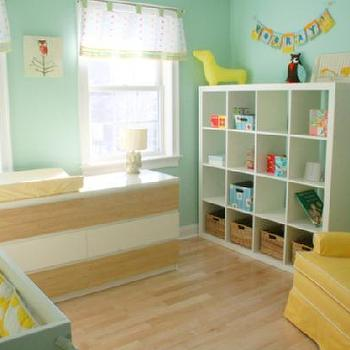 nurseries - ikea expedit, expedit bookcase, ikea expedit bookcase, white ikea bookcase, white ikea expedit bookcase, yellow nursery glider, turquoise and yellow nursery, ikea nursery bookcase, nursery bookcase, nursery bookcase ideas, Ikea Expedit Bookcase,