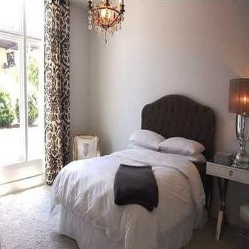 Damask Drapes, Transitional, bedroom