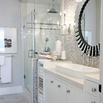 Sarah Richardson Design - bathrooms - white marble hex tiles, white marble hex tile backsplash, white marble hex backsplash, carrera marble hex backsplash, carrera marble hex tile backsplash, oval sink, oval bathroom sink, built in linen cabinet, white washstand, washstand ideas, washstand storage, washstand storage ideas, hex backsplash, hex tile backsplash, hex bathroom backsplash, walk in shower, Fortune Modern Frameless Beveled Mirror,