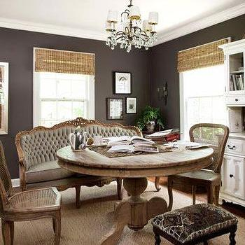 Country Living - dining rooms - french settee, gray settee, gray french settee, tufted settee, gray tufted settee, tufted french settee, round dining table, salvaged wood dining table, round salvaged wood dining table, cane chairs, cane dining chairs,