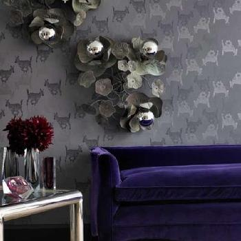 living rooms - purple sofa, velvet sofa, purple velvet sofa, purple sofas,  turnerpocockcazalet.co.uk  purple velvet sofa, gray wallpaper, metal