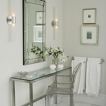 Sarah Richardson Design - bathrooms: venetian mirror, vanity mirror, glass top vanity, glass top make up vanity, nickel and glass console table, nickel and glass vanity, ghost chair,