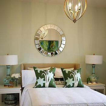 Sarah Richardson Design - bedrooms - sarah richardson bedroom, sarah richardson bedrooms, bella luna chandelier, white nightstands, chinoiserie nightstands, white chinoiserie nightstands, thomas paul pillows, turquoise lamps, chinoiserie lamps, wingback headboard, damask boxes, green pillows, light green walls, mirror over headboard, Luna Chandelier, Thomas Paul Lilies Silk Pillow, Fortune Mirror,