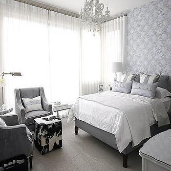 Sarah Richardson Design - bedrooms - gray bedrooms, gray walls, gray rooms, gray bedroom design, sarah richardson bedroom, sarah richardson bedrooms, cowhide ottoman, cube ottoman, cube cowhide ottoman, cowhide cube ottoman, gray velvet chairs, bedroom chairs, striped pillows,