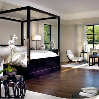 Tom Stringer - bedrooms - canopy bed, lacquered canopy bed, black canopy bed, black lacquered canopy bed,  Zen modern island bedroom design with