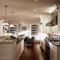Sarah Richardson Design - kitchens - white, ivory, kitchen, cabinets, glass, tiles, backsplash, black, granite, fireplace, built-ins, shelves, cabinets, Clemson Pendant,
