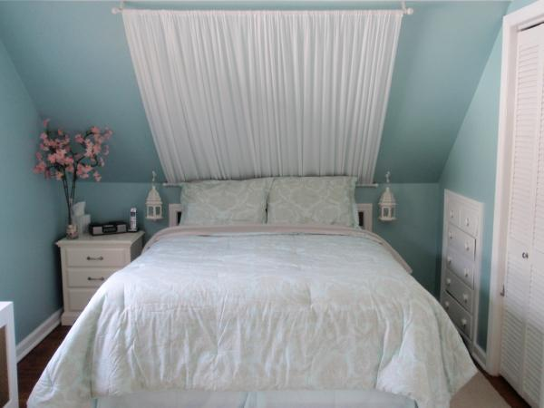 bedrooms - Behr Swan Sea, blue lanterns damask print off white canopy headboard built-ins,  Shabby Chic Attic Bedroom  Built in drawers. Mock